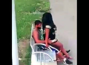 Ebony duo penetrates on park bench not..