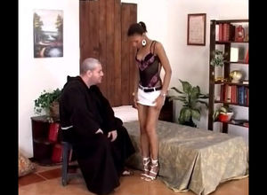 Elderly priest strips damsel african..
